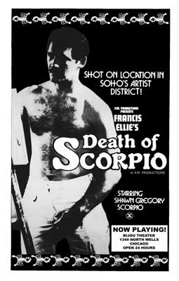 Gay movie poster for the vintage porn film Death of Scorpio at Bijouworld