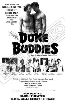 Gay movie poster for the vintage porn film Dune Buddies at Bijouworld