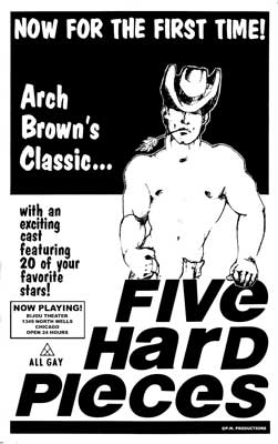 Gay movie poster for the vintage porn film Five Hard Pieces at Bijouworld