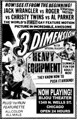 Gay movie poster for the vintage porn film Heavy Equipment Bijouworld