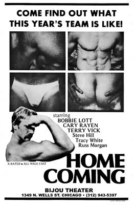 Gay movie poster for the vintage porn film Home Coming at Bijouworld
