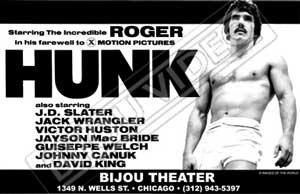 Gay movie poster for the vintage porn film Hunk starring Roger at Bijouworld