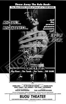 Gay movie poster for the vintage porn film In the name of Leather