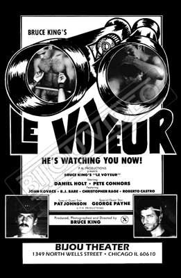 Gay movie poster for the vintage porn film Le Vpyeur at Bijouworld