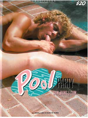 Pool Party, vintage gay porn magazine, naked guy sucks cock, gay sex by pool
