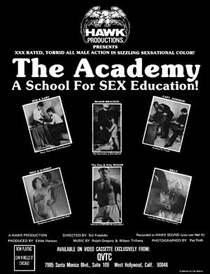 Gay movie poster for the vintage porn film The Academy at Bijouworld