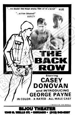Gay movie poster for the vintage porn film The Back Row at Bijouworld
