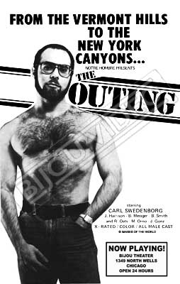 Gay movie poster for the vintage porn film The outing at Bijouworld