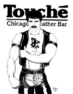 Vintage gay poster for the gay leather bar Touche at Bijouworld