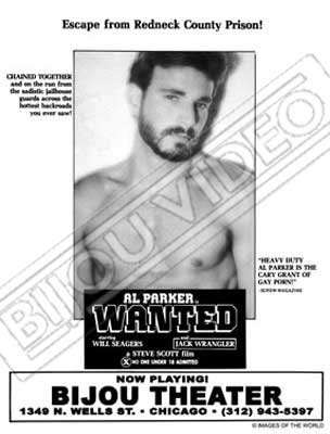 Gay movie poster for the vintage porn film Wanted by Steve Scott starring Al Parker and Jack Wranglerat Bijouworld