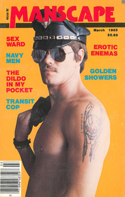 Vintage gay sex magazine Manscape March 1985, macho leather guy, tattoo
