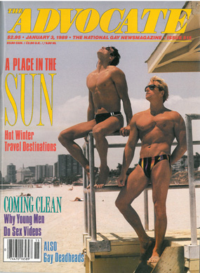 Vintage gay magazine The Advocate, Jan. 3 1989, 515, hot young guys at beach