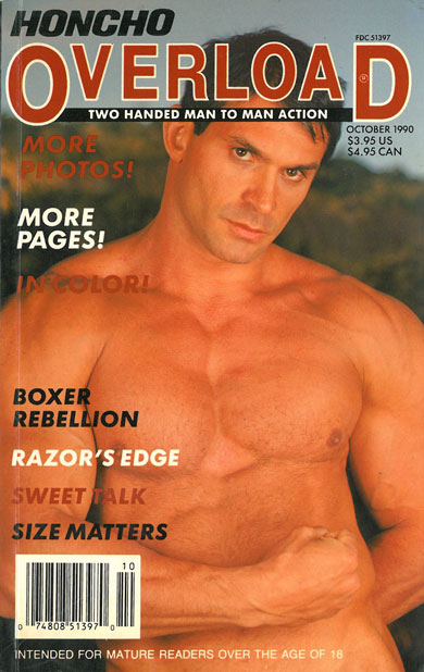 Honcho Overload, October 1990, vintage gay sex magazine, hunky muscle stud