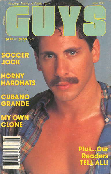 Guys, June 1991, vintage gay porn magazine, hot stud with mustache