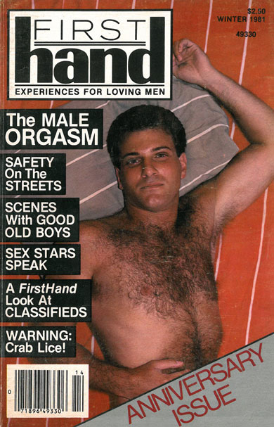 First Hand, Vol. 2, No.1, Winter 1981, vintage gay porn magazine, hot guy with hairy chest