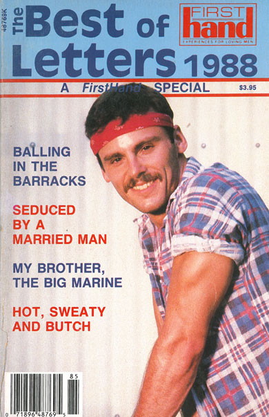 First Hand, Best of Letters 1988, vintage gay porn magazine, macho guy w/headband