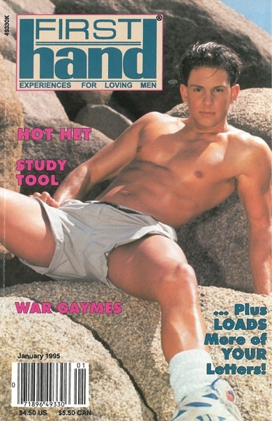 First Hand, Vol. 15, No. 1, January 1995, vintage gay porn magazine, hot dude, manspread