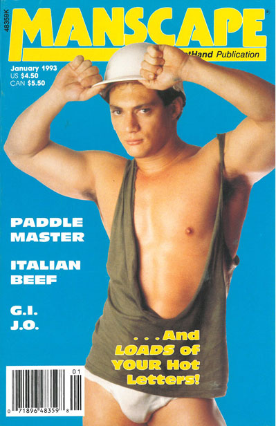 Manscape,  Vol. 8, No. 11, January 1993, vintage gay sex magazine,  young guy w/hardhat