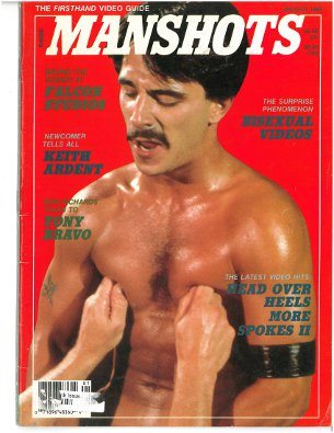 Manshots V1 N3 Jan 1989, vintage gay porn magazine, tit play on guy with moustache