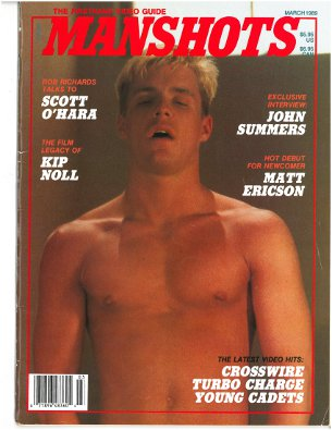 Manshots V1 N4 March 1989, vintage gay porn magazine, gay porn reviews, hunky blond jack off