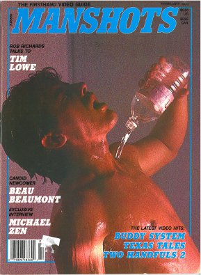 Manshots V2 N5 Feb 1990, vintage gay porn magazine, stud pours water on chest