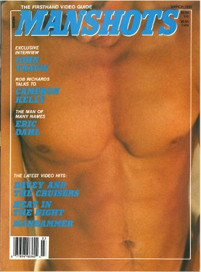 Manshots V2 N6, March 1990, vintage gay porn magazine, muscular chest