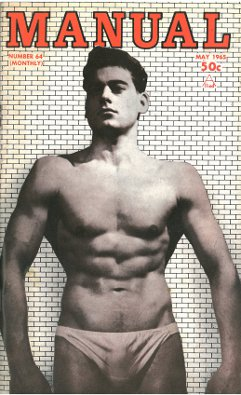 MANual, no. 64, May 1965, vintage gay beefcake magazine, hot semi-naked muscle guys