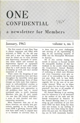 ONE Confidential, January 1965, vintage gay history magazine, Gay Sexual culture