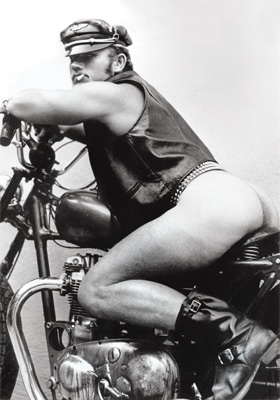 Hog Chopper naughty note card set, Hunky macho gay leather stud on a motorcycle