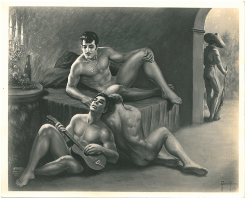 Vintage gay artwork, erotica, The Bandit, Quaintance, 1953, Latino guys, muscle