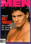 Advocate Men, August 1990, vintage gay porn magazine, Matt Powers