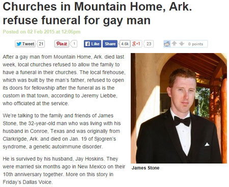 Article - Churches in Mountain Home, Arkansas refuse funeral for gay man (James Stone)
