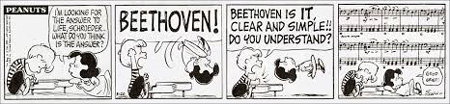 Peanus comic strip - Schroeder talking to Lucy about Beethoven