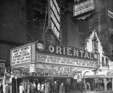Chicago's Oriental Theater in the 1940s showing the Jane Russell film, The Outlaw