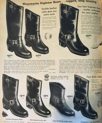 Vintage ad for 1950s black engineer boots