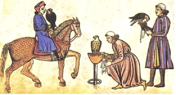 Medieval falconry: falconers with horse