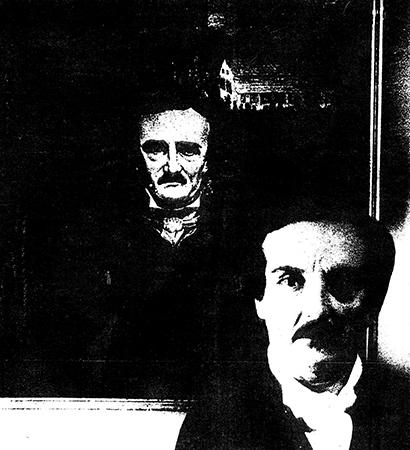 Peter de Rome in front of a portrait of Edgar Allan Poe