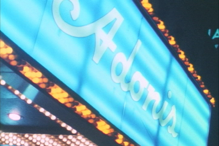 Adonis Theater sign in A Night at the Adonis