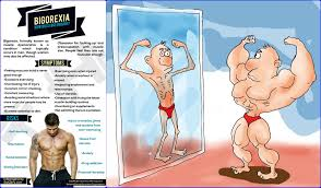 Illustration of bigorexia: a muscular man looking in the mirror and seeing a skinny man