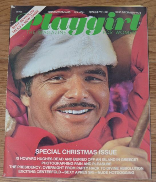 Burt Reynolds on the cover of Playgirl in December, 1974
