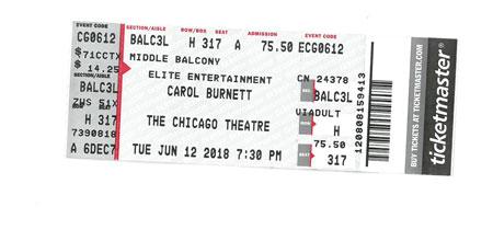 Carol Burnett at the Chicago Theater ticket stub