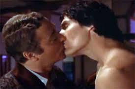 Deathtrap kiss between Michael Caine and Christopher Reeve
