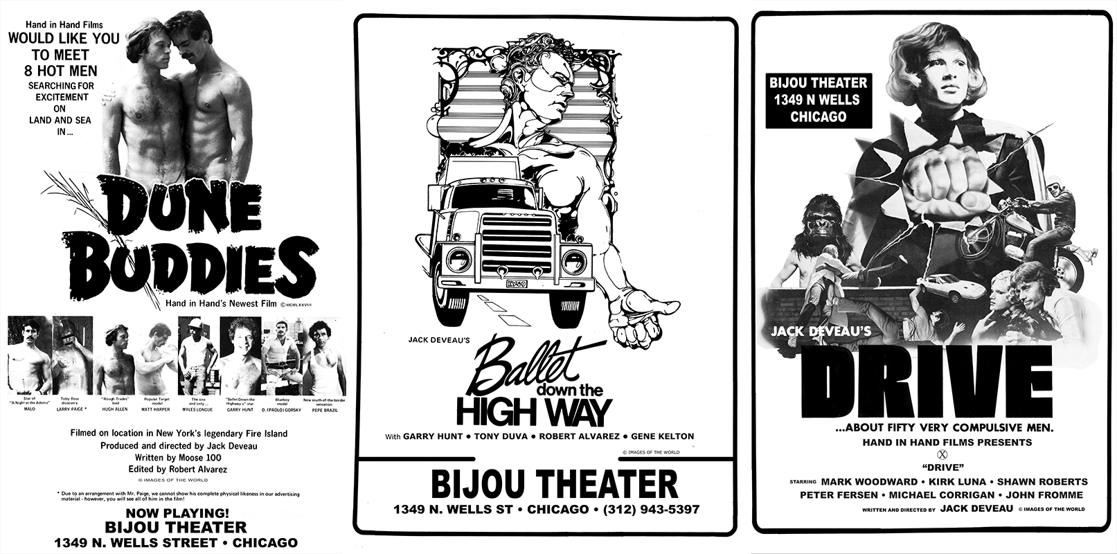 Vintage posters for Dune Buddies, Ballet Down the Highway & Drive