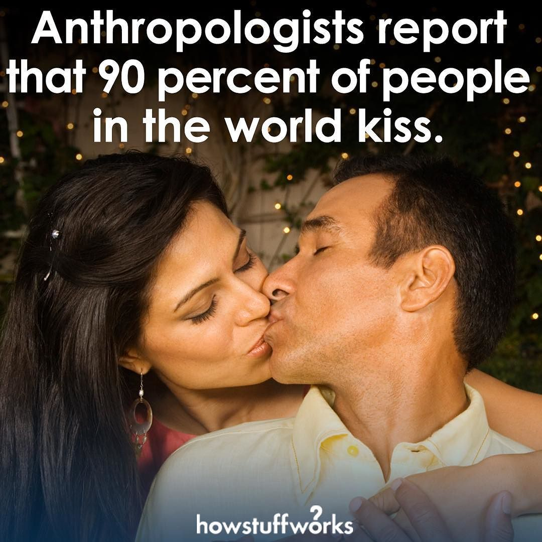 Straight couple kissing with text that says Anthropologists report that 90 percent of people in the world kiss