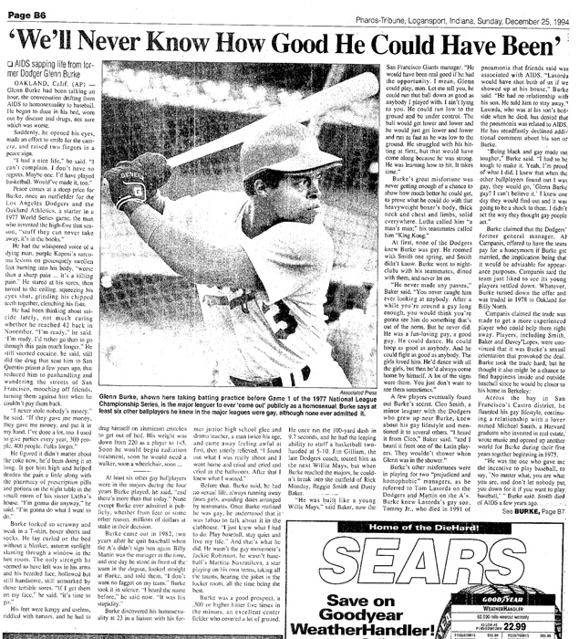 Newspaper article about Glenn Burke entitled We'll Never Know How Good He Could Have Been