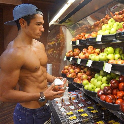 Hot muscle guy shirtless at grocery store