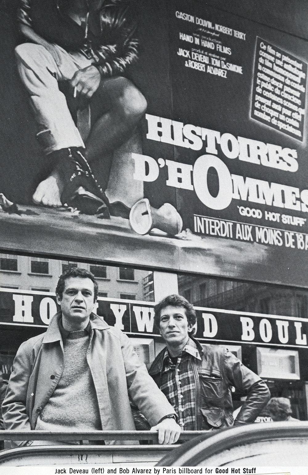 Jack and Robert Alvarez in front of a Histoires d'Hommes billboard in Paris