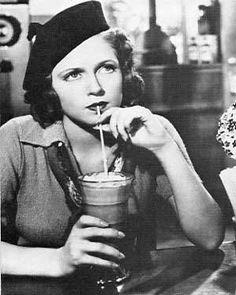 Lana Turner at a soda fountain