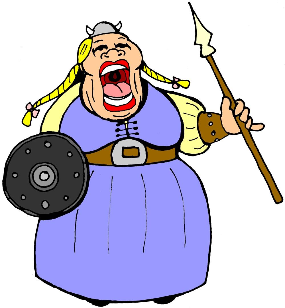 Cartoon of opera singer loudly singing