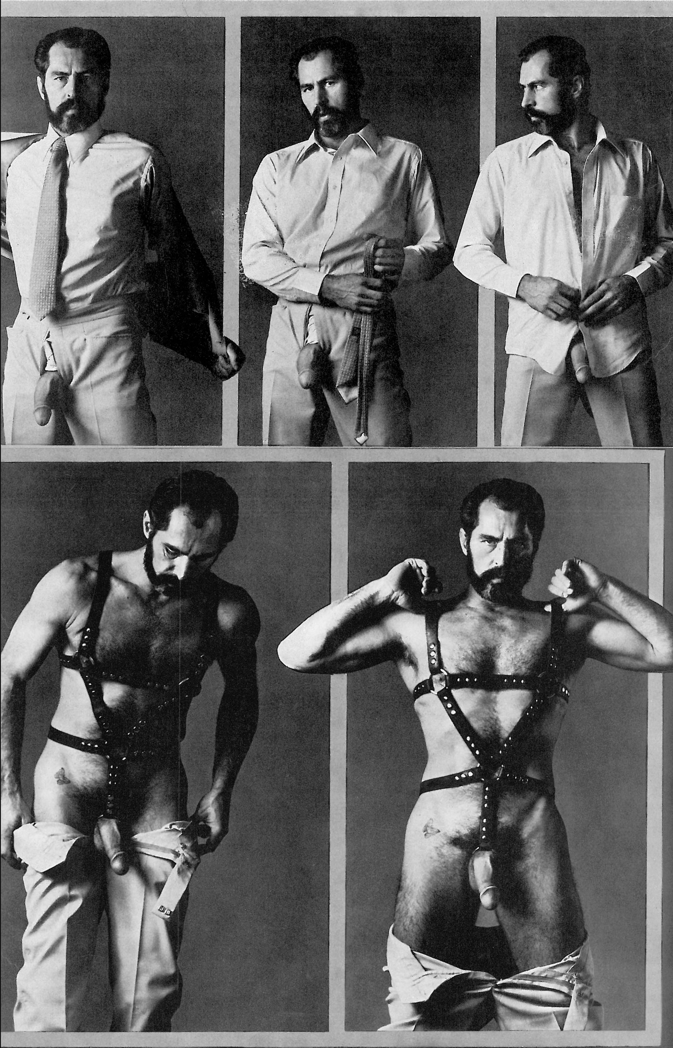 Photospread of Richard Locke stritease from suit and tie to leather harness